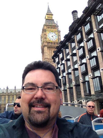 Marty Fahncke with Big Ben in London England